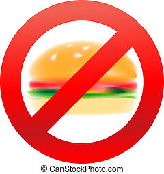 Unhealthy food, hamburger - Unhealthy food, stop symbol,...