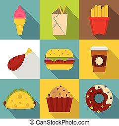 Unhealthy food icon set, flat style