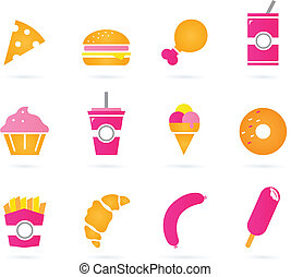 Unhealthy food icons isolated on white - Sweet and unhealthy...
