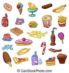 Junk fast food and hamburger diet illustration