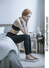 Unhealthy girl with anorexia problem