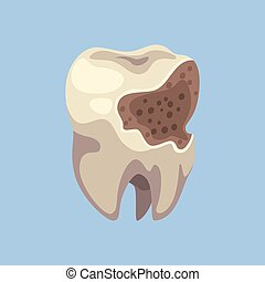 Unhealthy Tooth with Caries Dental Problems Vector...