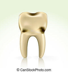 unhealthy, yellow cavity tooth
