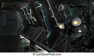 unheimlicher , roboter, zukunftsidee, raumschiff