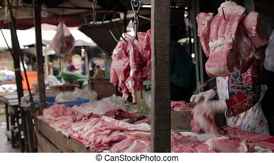 unhygienic meats in asian market