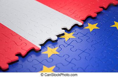 união, áustria, quebra-cabeça, bandeira, europeu