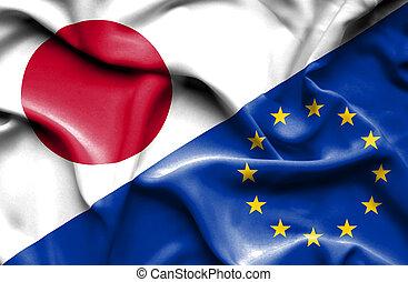 união, bandeira acenando, europeu, japão
