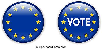 união, botão, eleições, voto, emblema, vazio, europeu