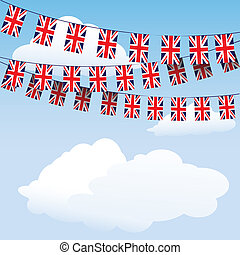 união, bunting, bandeiras, macaco