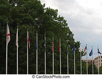 união, c.c. washington, nós, estado, estação, bandeiras