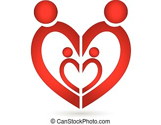 união, coração, símbolo, família, logotipo