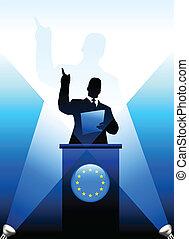 união européia, líder, dar, fala, fase