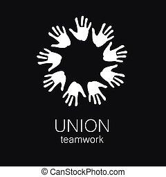união, logotipo, trabalho equipe, modelo, mãos