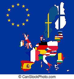união, mapa, 27, bandeiras, europeu