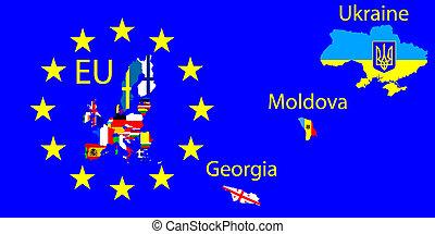 união, mapa, europeu