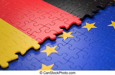 união, quebra-cabeça, bandeira alemanha, europeu