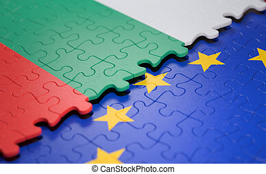 união, quebra-cabeça, bandeira bulgária, europeu