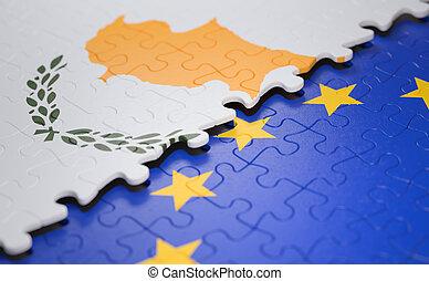 união, quebra-cabeça, bandeira chipre, europeu