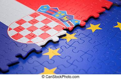 união, quebra-cabeça, bandeira croácia, europeu