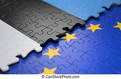união, quebra-cabeça, bandeira, estónia, europeu