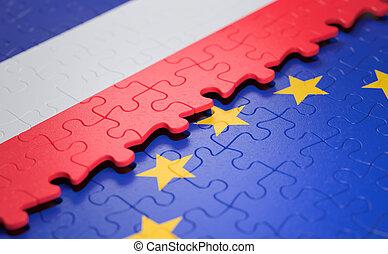 união, quebra-cabeça, bandeira frança, europeu