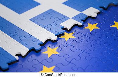 união, quebra-cabeça, bandeira grécia, europeu