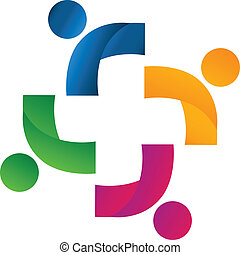 união, sócios, equipe, logotipo