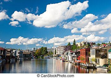 união, seattle, lago, houseboats
