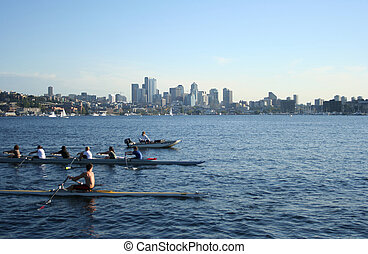 união, seattle, lago, rowers