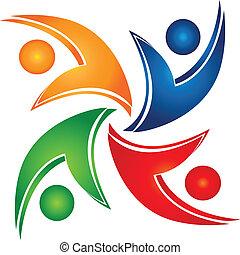 união, swooshes, trabalho equipe, logotipo