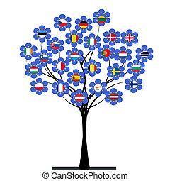 unión, árbol, europeo