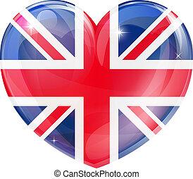 unión, corazón, bandera, gato, británico