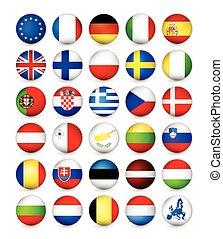 unión europea, banderas, redondo, insignias