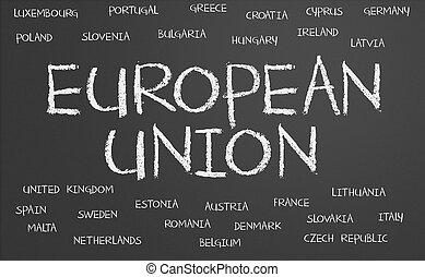unión europea, palabra, nube