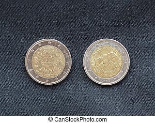 unión, europeo, euro, coins