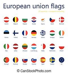 unión, europeo, flags+, 27, names., conjunto, banderas, eu, flag.