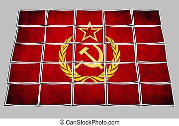 unión, grunge, bandera, soviético