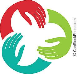 unión, logotipo, imagen, tres, manos
