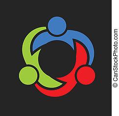 unión, logotipo, tres, equipo