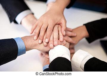 unión, manos, grupo, empresarios