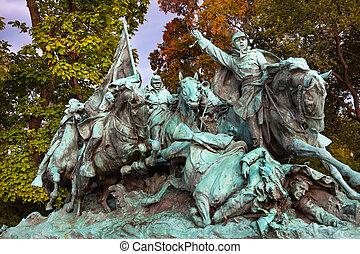 unión, nosotros, h, calvary, caballos, estatua, capitolio, adeudo en cuenta, subvención, monumento conmemorativo