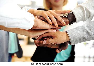 unión, personas empresa, manos