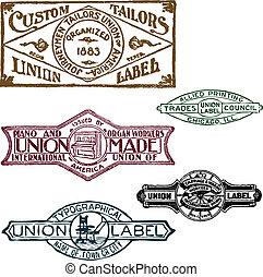unión, sellos, conjunto, retro, vector