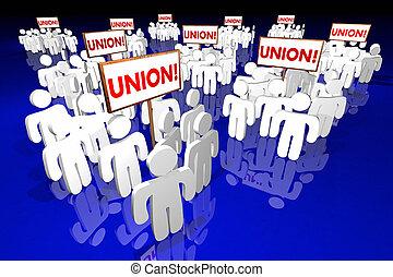 unión, trabajadores, gente, reunión, señales, animación 3d