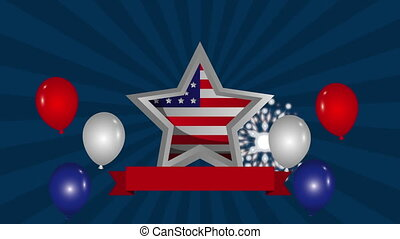 uni, étoile, etats, drapeau, animation, amérique