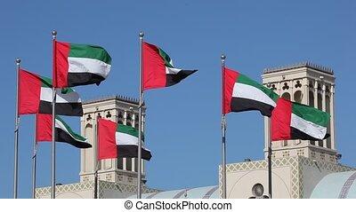 uni, arabe, drapeaux, emirats