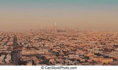 uni, arabe, establishing, coup, emirates., aérien, dubai, vue