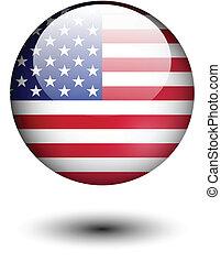 uni, bouton, drapeau état, lustré, amérique