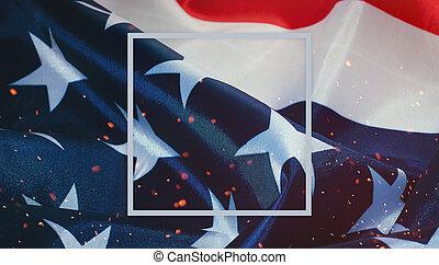 uni, cadre, fléchir haut, etats, américain, fin, amérique, bannière