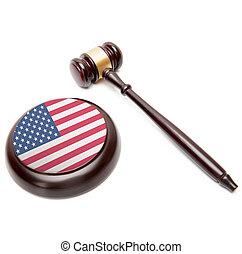 uni, caisse de résonnance, national, -, il, etats, juge, drapeau, marteau